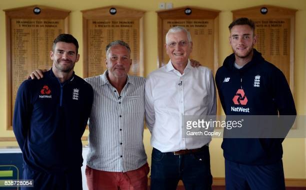 England top four leading wicket takers James Anderson Sir Ian Botham Bob Willis and Stuart Broad at Headingley on August 24 2017 in Leeds England