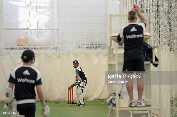 England train in the indoor nets during a training session at the ECB National Cricket Performance Centre on July 2 2014 in Loughborough England