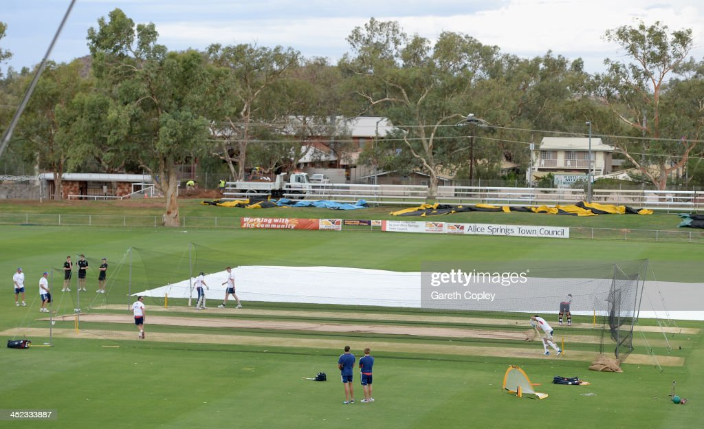 England train in the nets during a nets session at Traeger Park on November 28, 2013 in Alice Springs, Australia.
