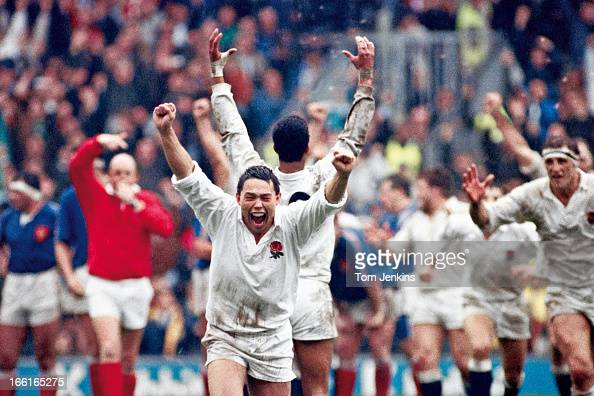 England tryscorer Rory Underwood celebrates as the referee blows the final whistle to give England victory over France in their Five Nations match...