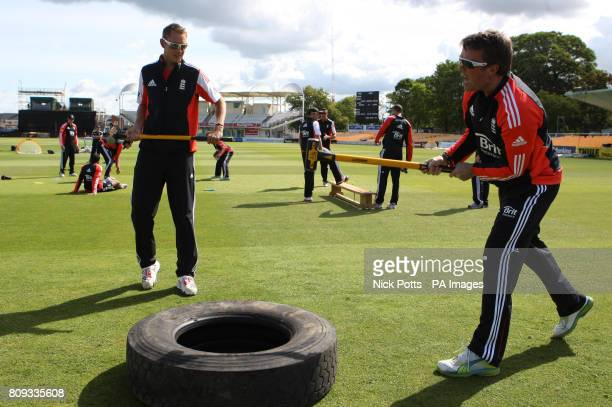 England Twenty 20 captain Stuart Broad and Graeme Swann hit a lorry tyre using mallets during the nets session at The County Ground Gloucestershire