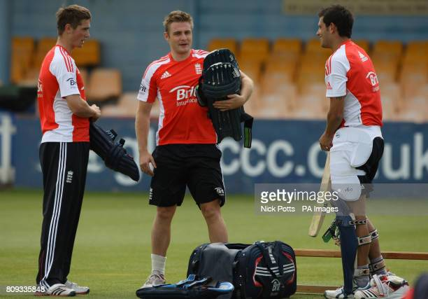 England Twenty 20 player Luke Wright during talks with Chris Woakes and Jade Dernbach during the nets session at The County Ground Gloucestershire
