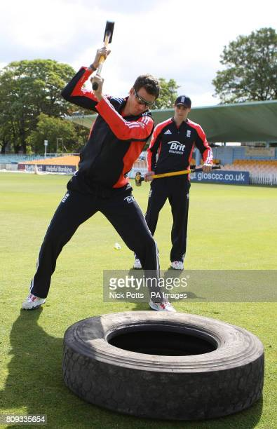 England Twenty 20 player Steven Finn hit a lorry tyre using mallets during the nets session at The County Ground Gloucestershire