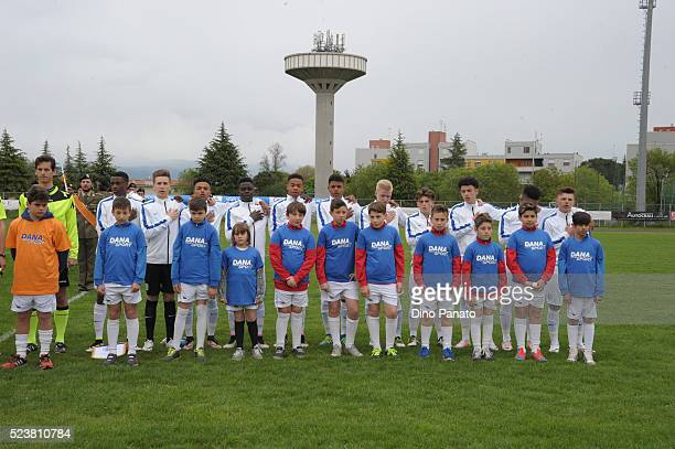 England U15 players poses before the U15 International Tournament match between Italy and England at Stadio Colussi on April 24 2016 in Gradisca...
