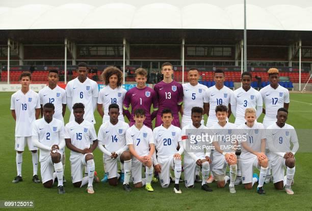 England U16 team group back row LR 19 Jamie Soule 12 Marcel Lavinier 6 Zech Medley 18 Ethan Ampadu 1 Harrison Male 13 Adam Pryzbek 5 Kane Wilson 10...