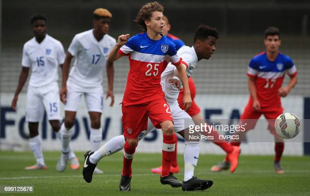 England U16's Angel Gomes battles for the ball with USA U16's Brenden Aaronson
