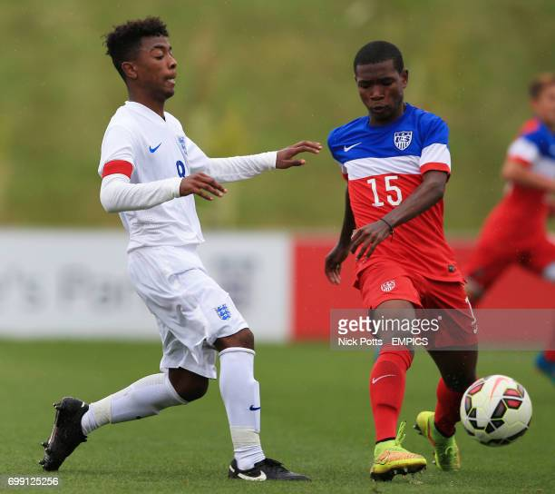 England U16's Angel Gomes battles for the ball with USA U16's Rayshaun McGann