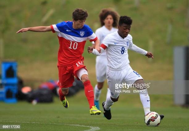 England U16's Angel Gomes battles past USA's George Acosta