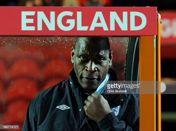 England U19 manager Noel Blake looks on during the International Match between England U19 and Denmark U19 at Keepmoat Stadium on February 5 2013 in...