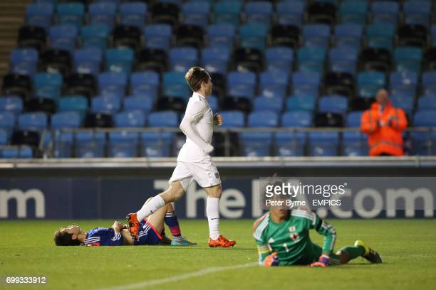 England U19's Dan Crowley scores his side's fifth goal of the game