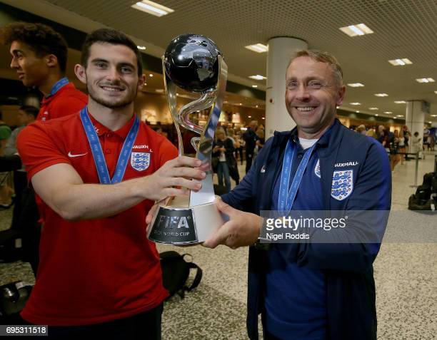 England U20's captain Lewis Cook and manager Paul Simpson pose for a picture on their return after winning the U20's FIFA World Cup at Birmingham...