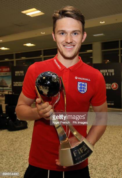 England U20's Freddie Woodman arrives at Birmingham Airport with the World Cup