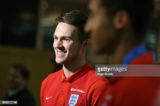 England U20's Freddie Woodman arrives back with his team after winning the U20's FIFA World Cup at Birmingham Airport on June 12 2017 in Birmingham...