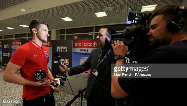 England U20's Freddie Woodman is interviewed as he arrives at Birmingham Airport with the World Cup PRESS ASSOCIATION Photo Picture date Monday June...