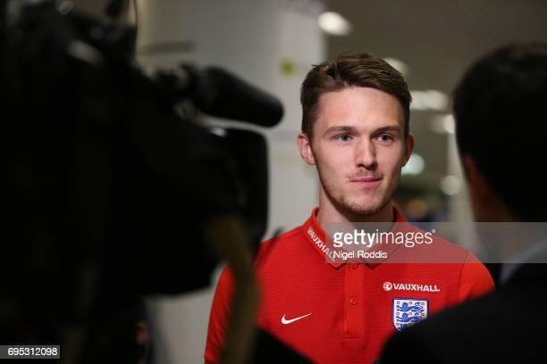 England U20's Freddie Woodman speaks to media after winning the U20's FIFA World Cup at Birmingham Airport on June 12 2017 in Birmingham England