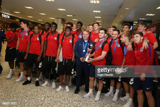 England U20's return after winning the U20's FIFA World Cup at Birmingham Airport on June 12 2017 in Birmingham England