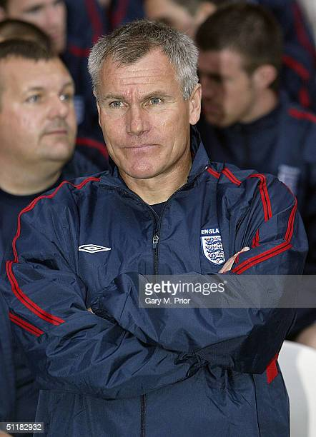 England U21 coach Peter Taylor looks on during the International friendly match between England U21 and Ukraine U21 at the Riverside Stadium on...