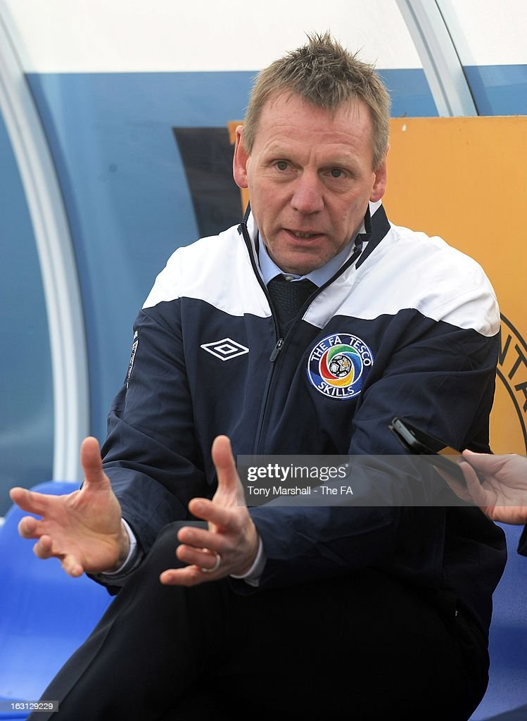 England U21 manager <a gi-track='captionPersonalityLinkClicked' href=/galleries/search?phrase=Stuart+Pearce+-+Soccer+Coach&family=editorial&specificpeople=213348 ng-click='$event.stopPropagation()'>Stuart Pearce</a> looks on during the Tesco Skills Extra Launch at St Georges Park on March 5, 2013 in Burton-upon-Trent, England.