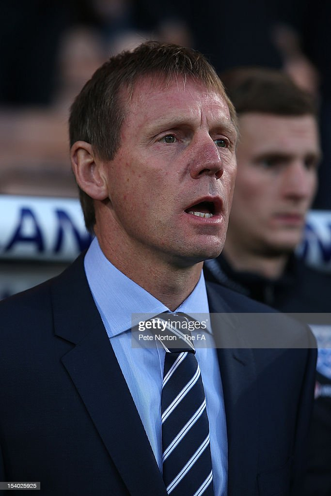 England U21 manager Stuart Pearce looks on prior to the Under 21 European Championship Play Off match between England U21 and Serbia U21 at Carrow Road on October 12, 2012 in Norwich, England.