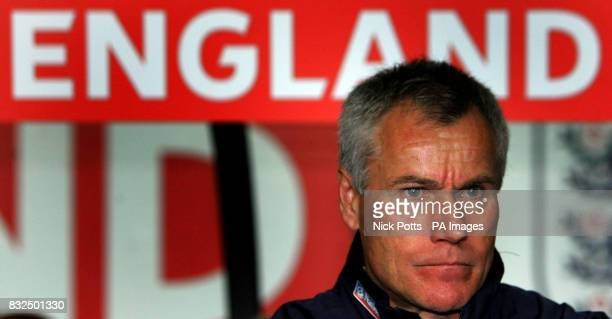 England U21's coach Peter Taylor watches during the UEFA Under 21 Championship playoff against Germany U21 at the Ricoh Arena Coventry