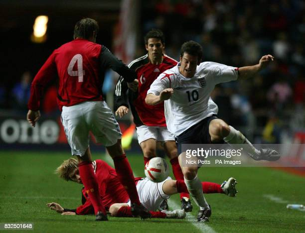 England U21's David Nugent skips past a challenge during the UEFA Under 21 Championship playoff against Germany U21 at the Ricoh Arena Coventry