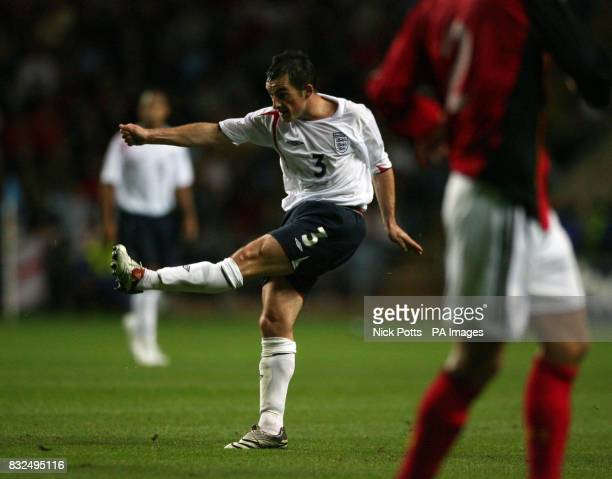 England U21's Leighton Baines scores during the UEFA Under 21 Championship playoff against Germany U21 at the Ricoh Arena Coventry