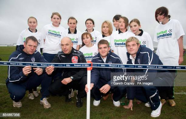 England under 21s coach Stuart Pearce Premier League referee Howard Webb Martin Cranie and Richard Stearman during the FA Respect Barrier Launch at...