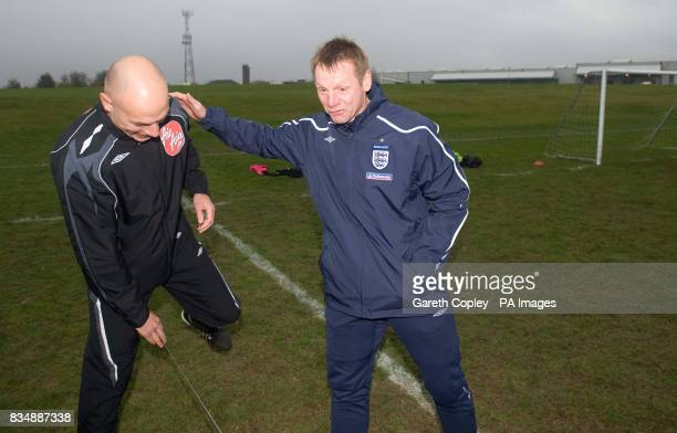 England under 21's coach Stuart Pearce with Premier League referee Howard Webb during the FA Respect Barrier Launch at Holgate Sports College Barnsley