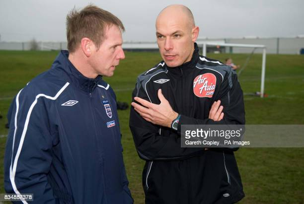 England under 21s coach Stuart Pearce with Premier League referee Howard Webb during the FA Respect Barrier Launch at Holgate Sports College Barnsley