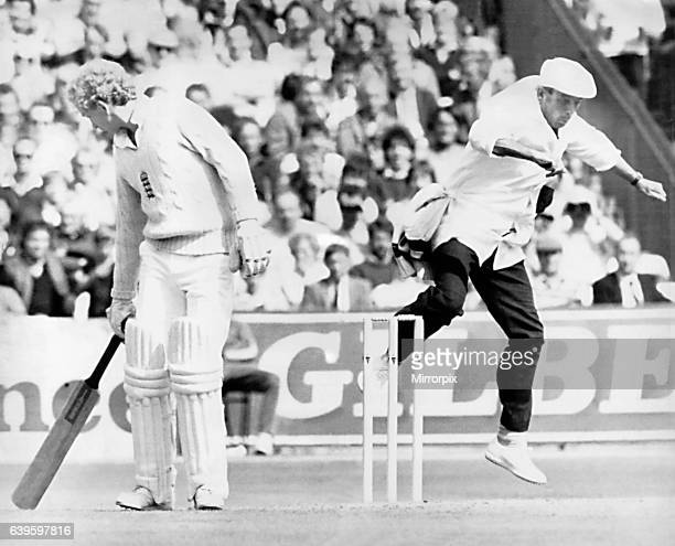 England v Australia Fourth test match at Old Trafford Manchester for the Ashes test umpire Harold Dickie Bird jumping in the air behind England...
