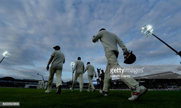England walk out to field after tea during day three of the 1st Investec Test between England and the West Indies at Edgbaston on August 19 2017 in...