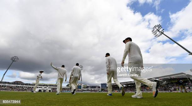 England walk out to field during day three of the 1st Investec Test between England and the West Indies at Edgbaston on August 19 2017 in Birmingham...
