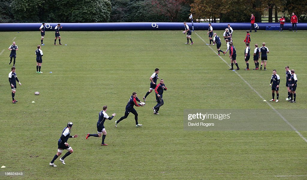 England warm up during the England training session held at Pennyhill Park on November 13, 2012 in Bagshot, England.