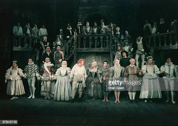 England Warwickshire StratforduponAvon curtain call for A Midsummer Nights Dream at the Royal Shakespeare Theatre Center stage is Charles Laughton...