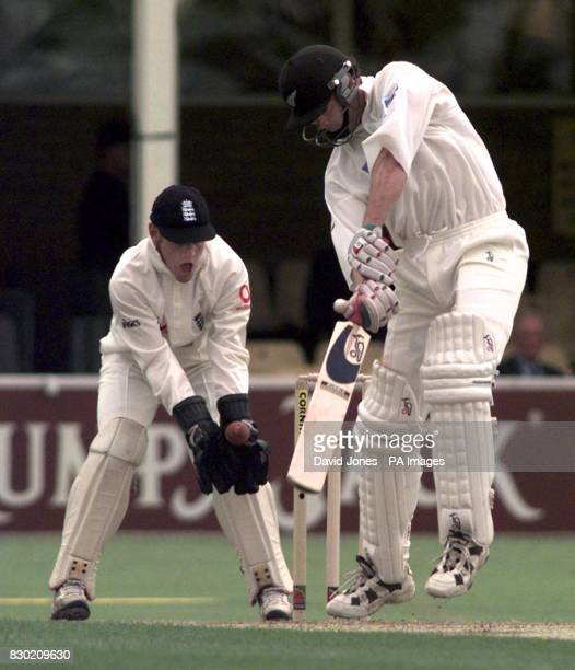 England wicketkeeper Chris Read collects a ball from spinner Phil Tufnell which was missed by New Zealand batsman Dion Nash during the First Test...