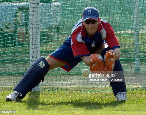 England wicketkeeper Chris Read collects the ball during a practice session at the Siri Fort Sports Complex Delhi India