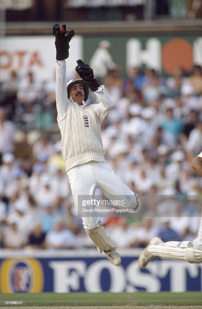 England wicketkeeper Jack Russell at full stretch on the first day of the 3rd Test match between England and India at the Oval in London, 23rd August 1990. The match ended in a draw.