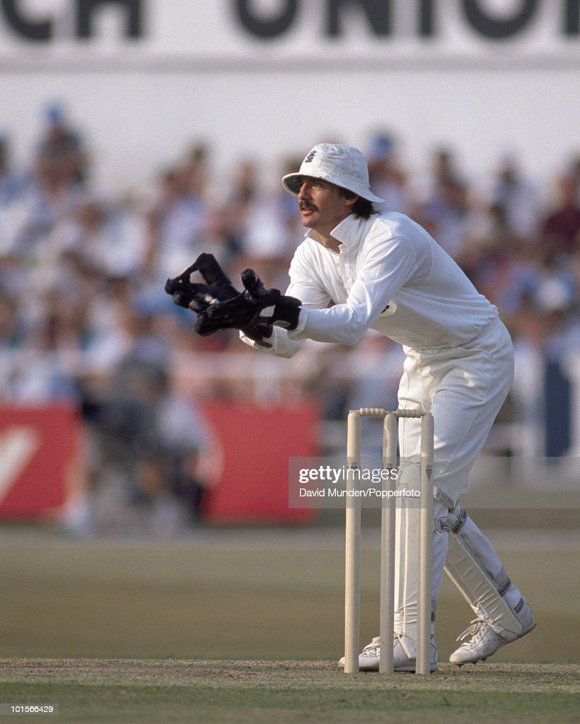 England wicketkeeper Jack Russell during the 1st Texaco Trophy One Day International match between England and India at Headingley in Leeds, 18th July 1990. India won by 6 wickets.