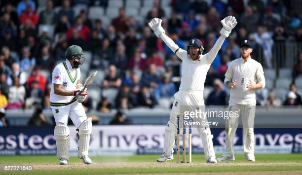 England wicketkeeper Jonathan Bairstow successfully appeals for the wicket of Hashim Amla of South Africa during day four of the 4th Investec Test...