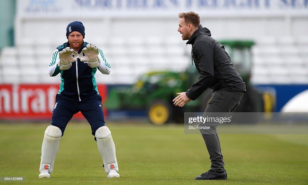 England wicketkeeper Jonny Bairstow (l) chats with Newcastle United goalkeeper Rob Elliott during England Nets session ahead of the 2nd Investec Test match between England and Sri Lanka at Emirates Durham ICG on May 25, 2016 in Chester-le-Street, United Kingdom.
