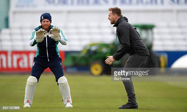 England wicketkeeper Jonny Bairstow chats with Newcastle United goalkeeper Rob Elliott during England Nets session ahead of the 2nd Investec Test...