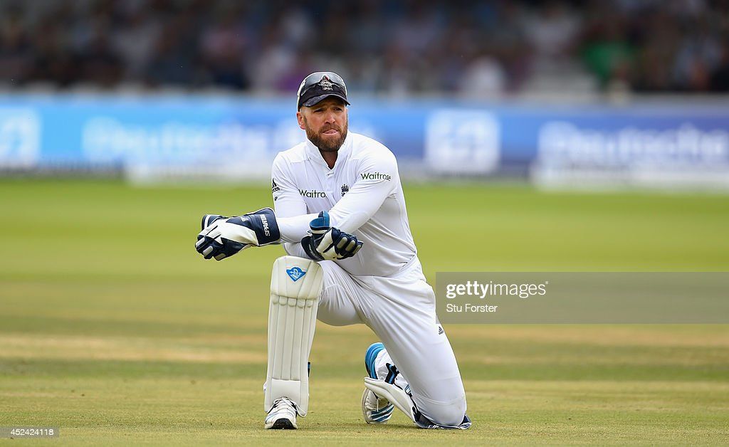 England wicketkeeper Matt Prior looks on after conceding four byes during day four of 2nd Investec Test match between England and India at Lord's Cricket Ground on July 20, 2014 in London, United Kingdom.