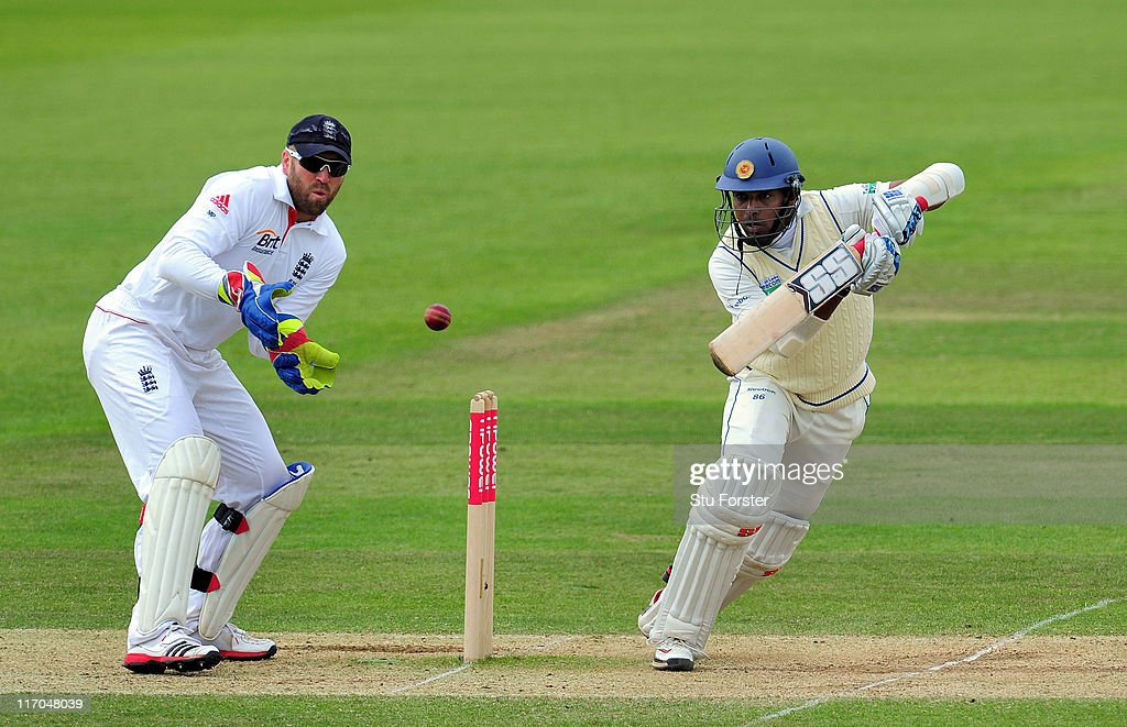 England wicketkeeper Matt Prior looks on as Sri Lanka batsman Thilan Samaraweera picks up some runs during day five of the 3rd npower test between...
