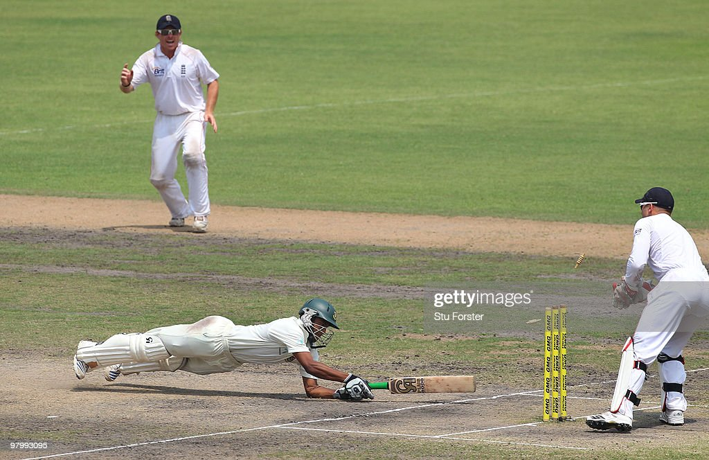 England wicketkeeper <a gi-track='captionPersonalityLinkClicked' href=/galleries/search?phrase=Matt+Prior+-+Cricket+Player&family=editorial&specificpeople=13652111 ng-click='$event.stopPropagation()'>Matt Prior</a> stumps Bangladesh batsman <a gi-track='captionPersonalityLinkClicked' href=/galleries/search?phrase=Shakib+Al+Hasan&family=editorial&specificpeople=4145971 ng-click='$event.stopPropagation()'>Shakib Al Hasan</a> on 96 runs during day five of the 2nd Test match between Bangladesh and England at Shere-e-Bangla National Stadium on March 24, 2010 in Dhaka, Bangladesh.