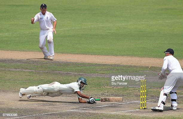 England wicketkeeper Matt Prior stumps Bangladesh batsman Shakib Al Hasan on 96 runs during day five of the 2nd Test match between Bangladesh and...