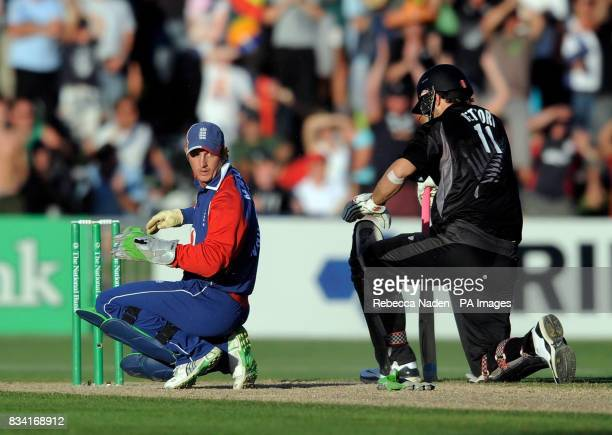 England wicketkeeper Phil Mustard fails to run out New Zealand's Daniel Vettori during the Fourth One Day International match at McLean Park Napier...
