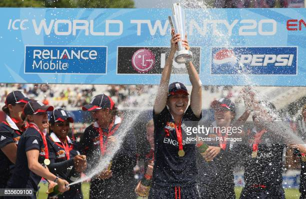 England Women captain Charlotte Edwards lifts the ICC World Twenty20 Trophy after the Final of the Womens ICC World Twenty20 at Lords London