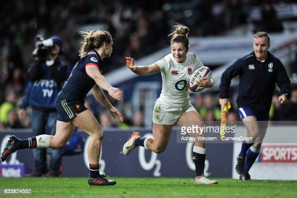 England Womens Amy Wilson Hardy evades the tackle of France Womens Elodie Poublan during the Women's Six Nations match between England Women and...