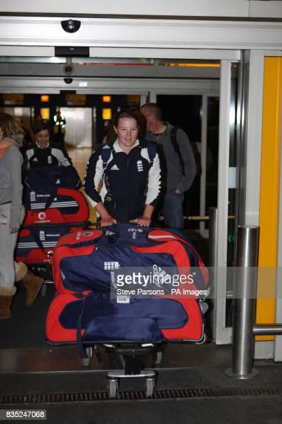 England Womens' Anya Shrubsole arrives at Heathrow Airport London