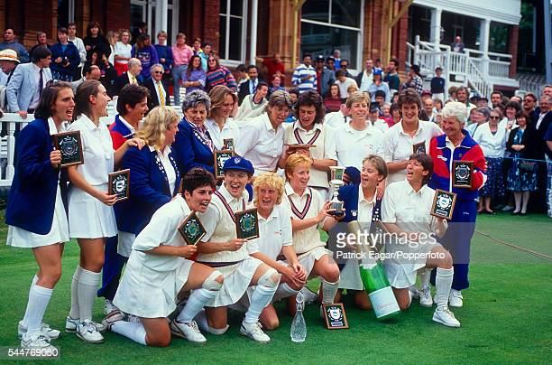 England Women's captain Karen Smithies celebrates with her team after England Women win the Women's World Cup Final between England Women and New...
